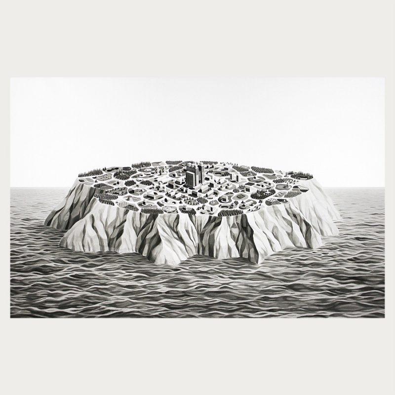 Elizabeth Charnock | Island City | Tusch auf Papier | 2015 | 100 x 170 cm