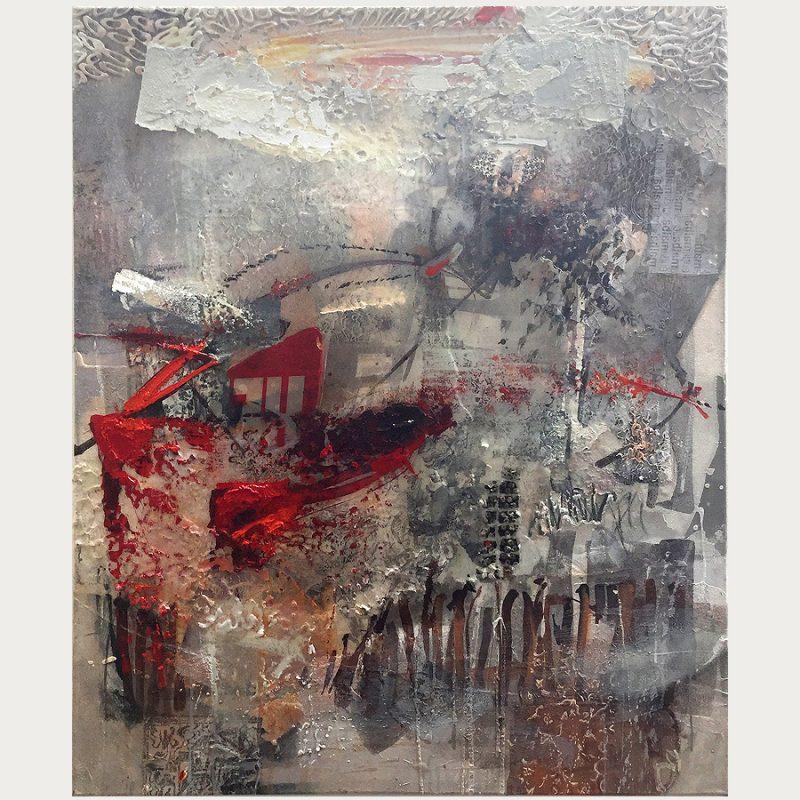 Georg Brandner | ohne Titel | Collage/Harz/Öl auf Leinwand | 2017 | 120 x 100 cm