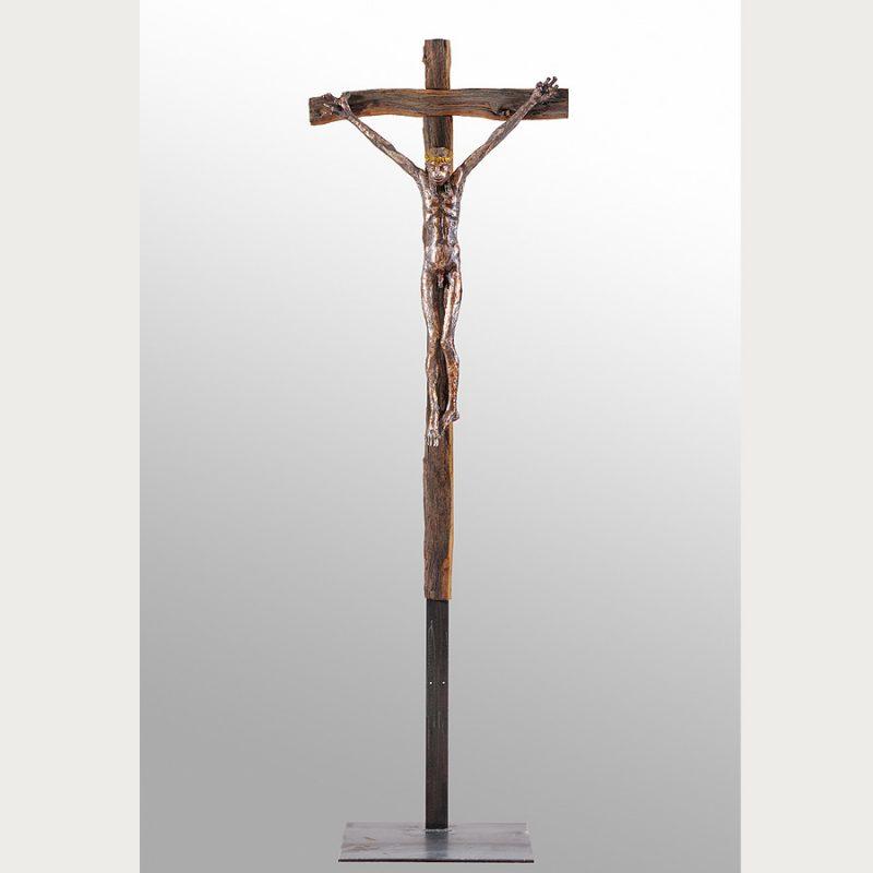 Hans Scheib | INRI | Holz/Bronze/Stahl | 2018 | 220 x 70 x 18 cm