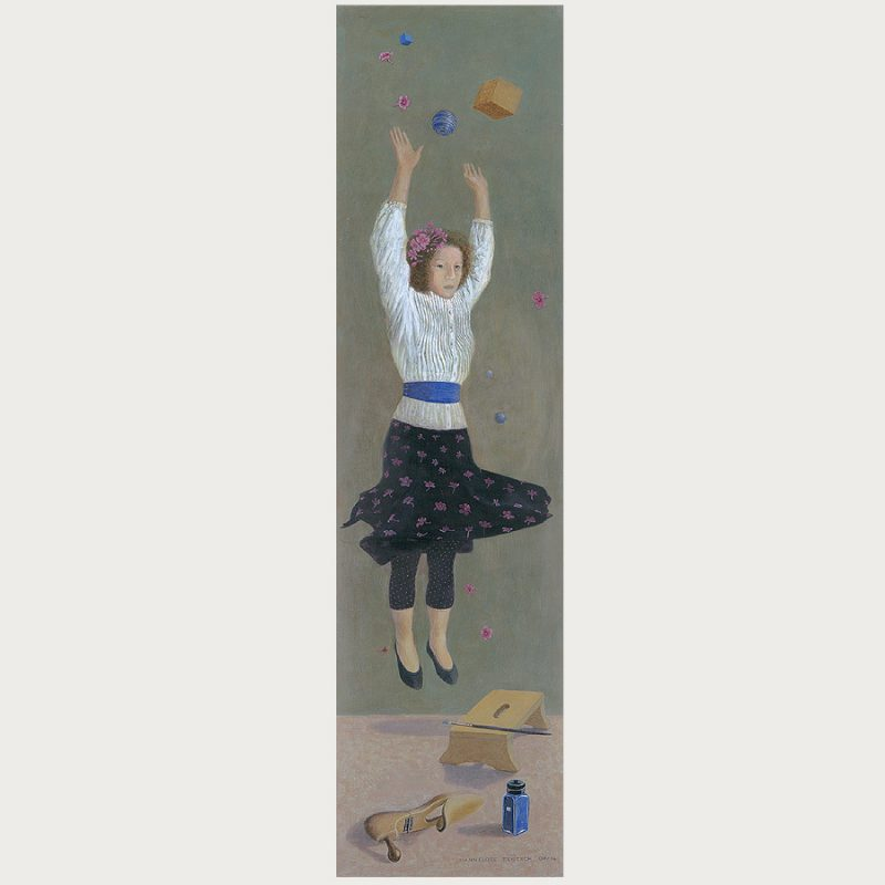 Hannelore Teutsch | Die Freuden der züchtigen Hausfrau III | Tempera auf Holz | 2009/2014 | 119 x 31 cm