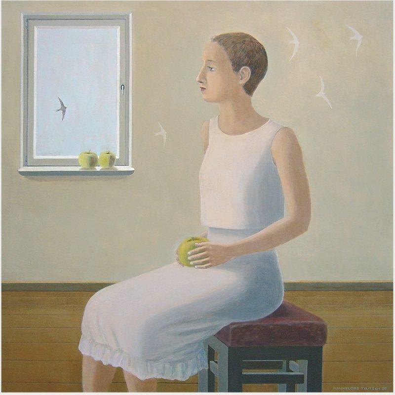 Hannelore Teutsch | Drinnen und draußen | Öl auf Holz | 2007 | 79 x 79 cm