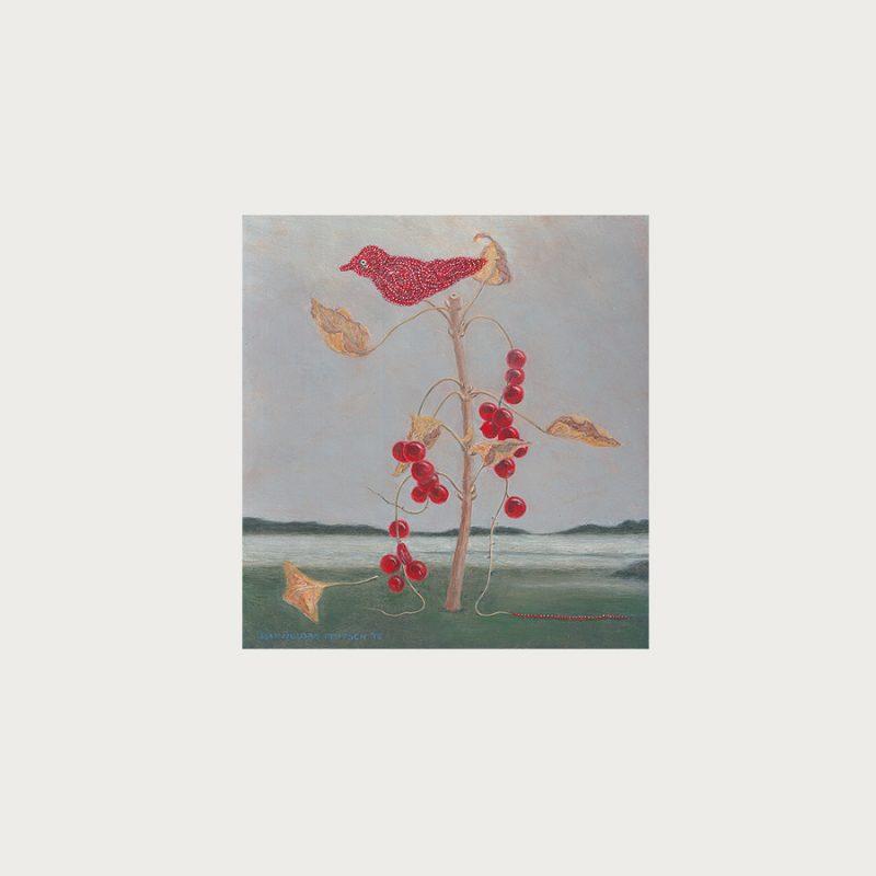 Hannelore Teutsch | Stillleben mit Johannisbeeren und Vogel | Tempera auf Hartfaser | 2013 | 27,5 x 24 cm