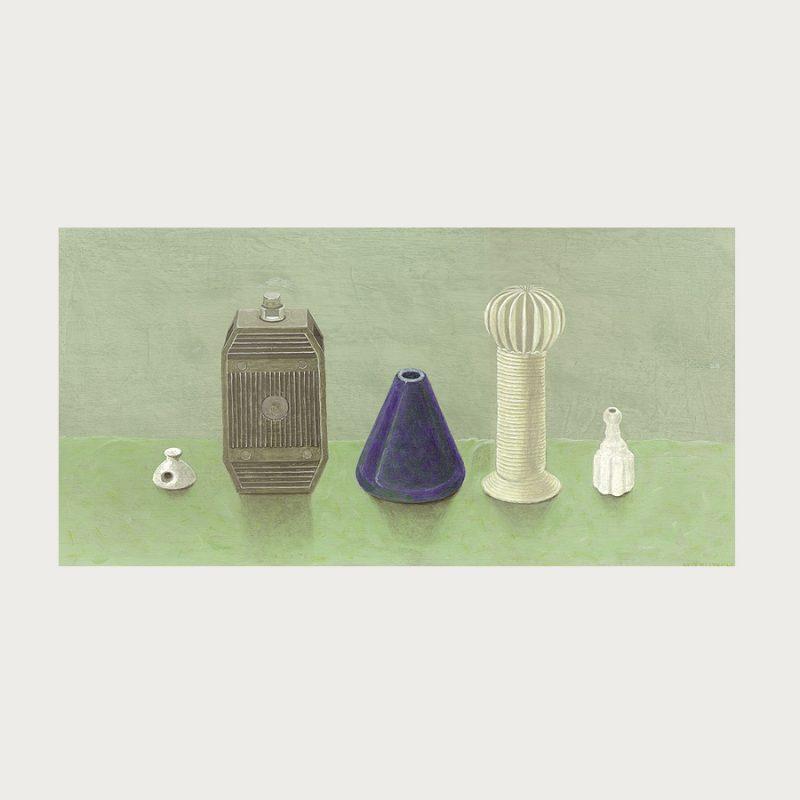 Hannelore Teutsch | Stillleben mit Kaleidoskop | Tempera auf Hartfaser | 2002 | 28,5 x 57 cm