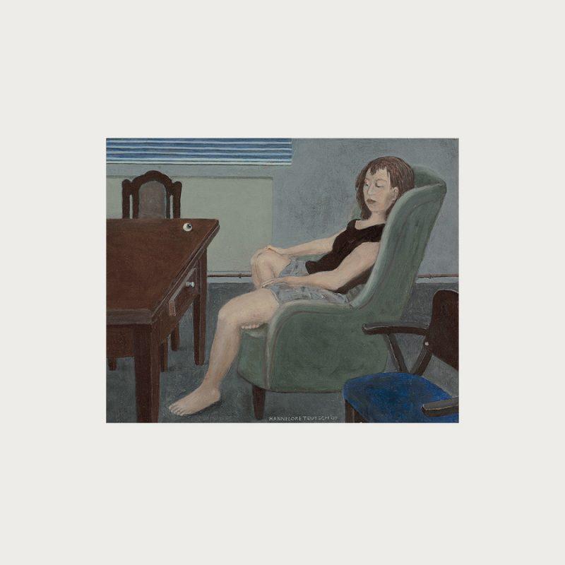 Hannelore Teutsch | Mädchen im Sessel | Tempera auf Holz | 2010 | 30 x 36 cm