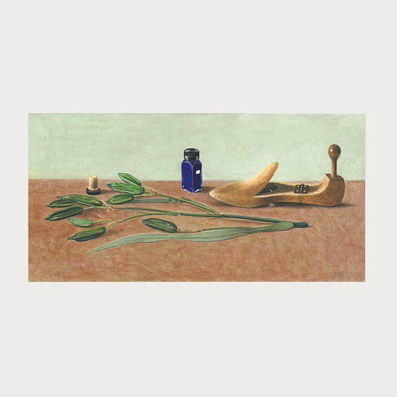 Hannelore Teutsch | Stillleben mit Schuhspanner | Tempera auf Holz | 2006 | 28,5 x 57 cm